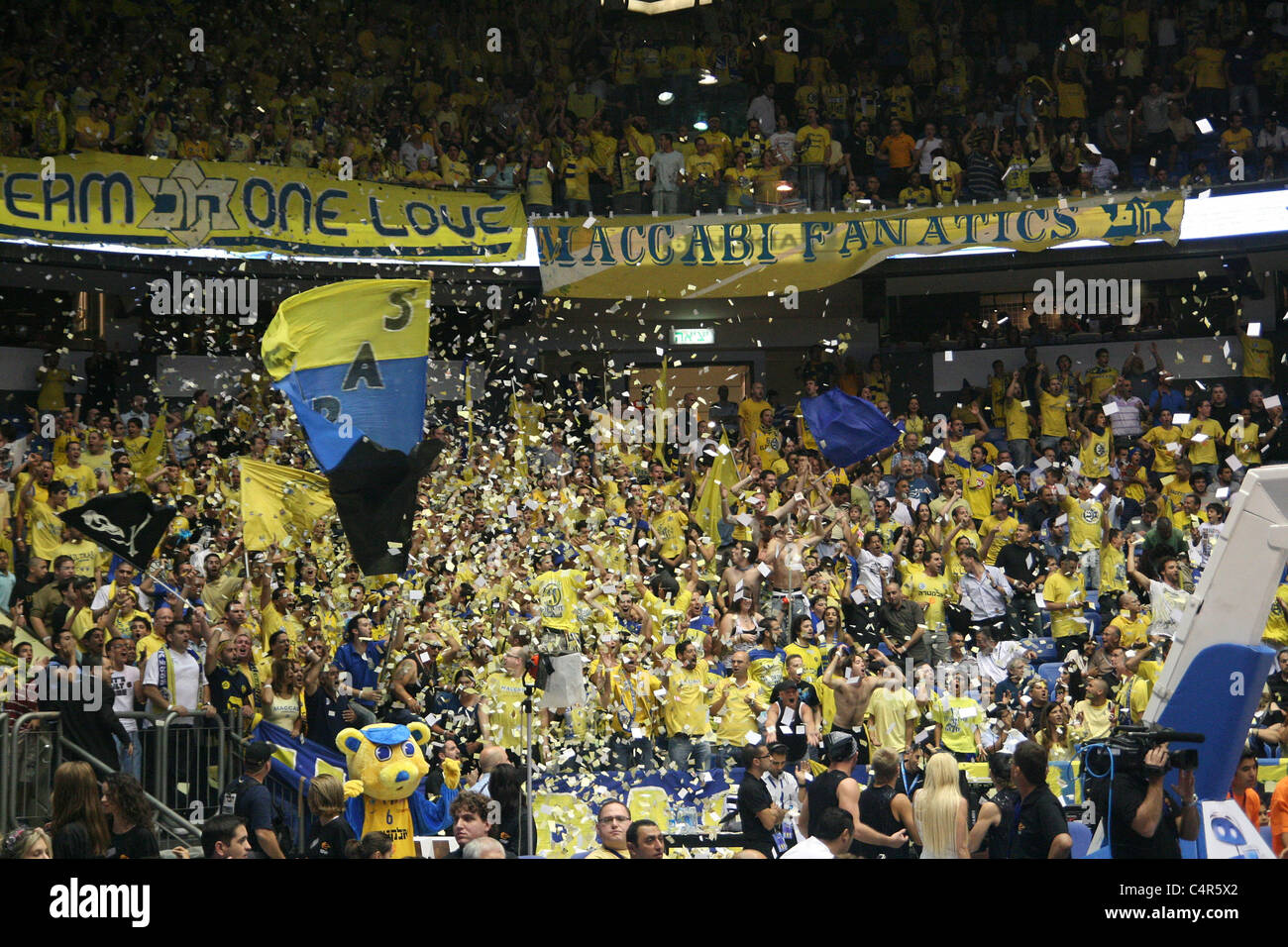 Maccabi Tel Aviv Basketball fans at the Yad Eliyahu Stadium. Tel Aviv Israel 7af3b4f37