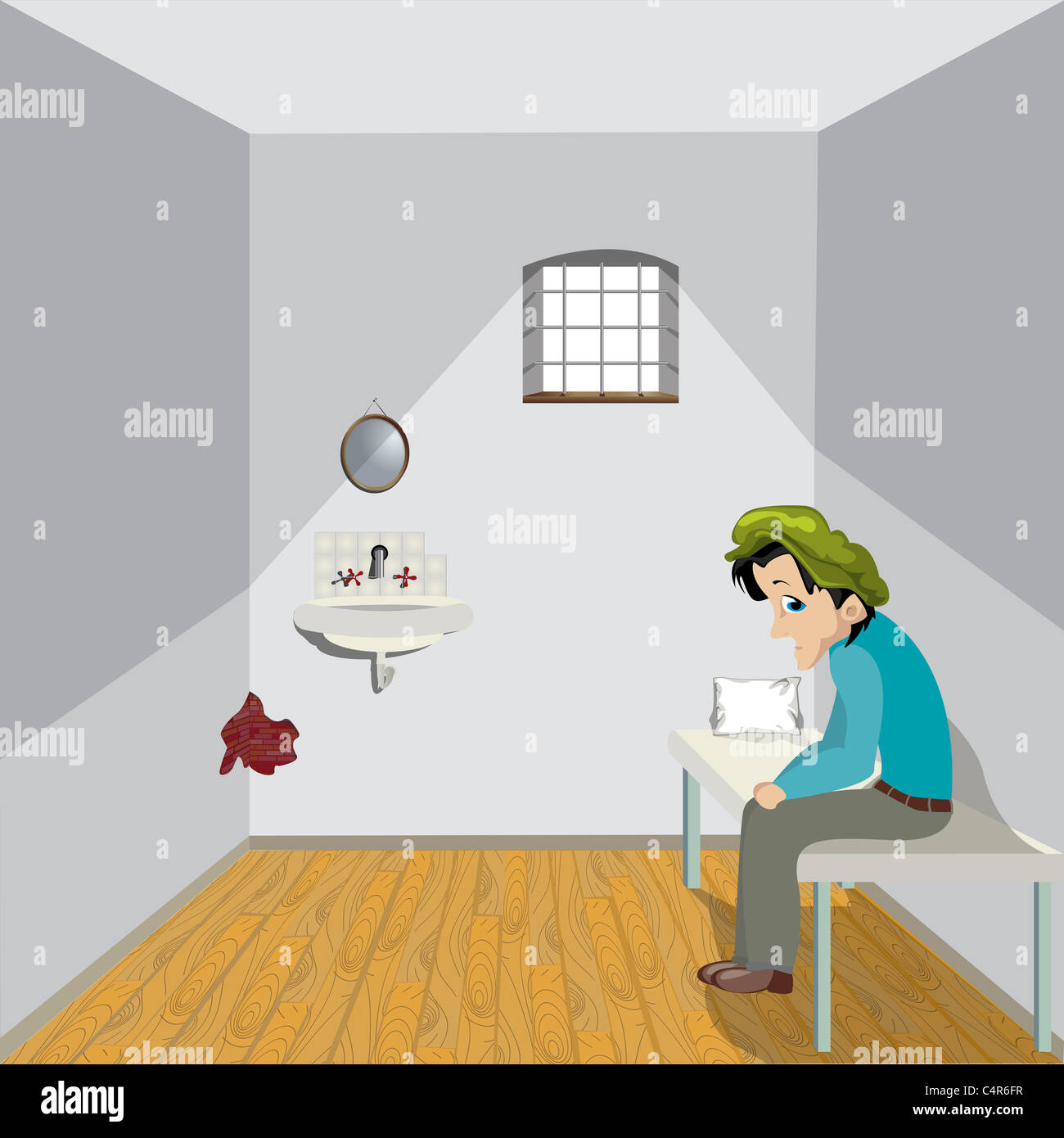 Cartoon drawing of a sad man in a lonely room