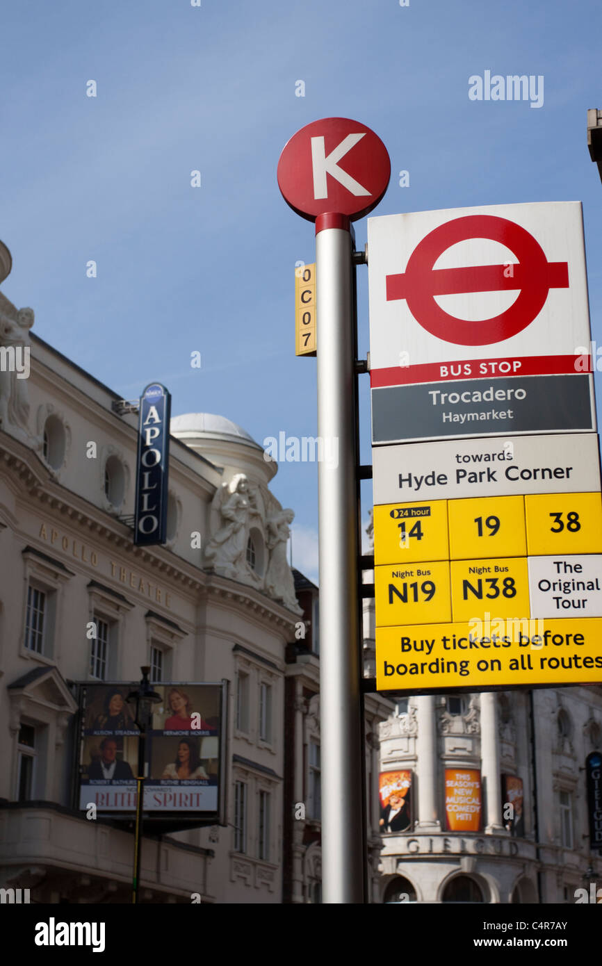 Bus stop sign out the Trocadero, Shaftesbury Avenue, London, England - Stock Image