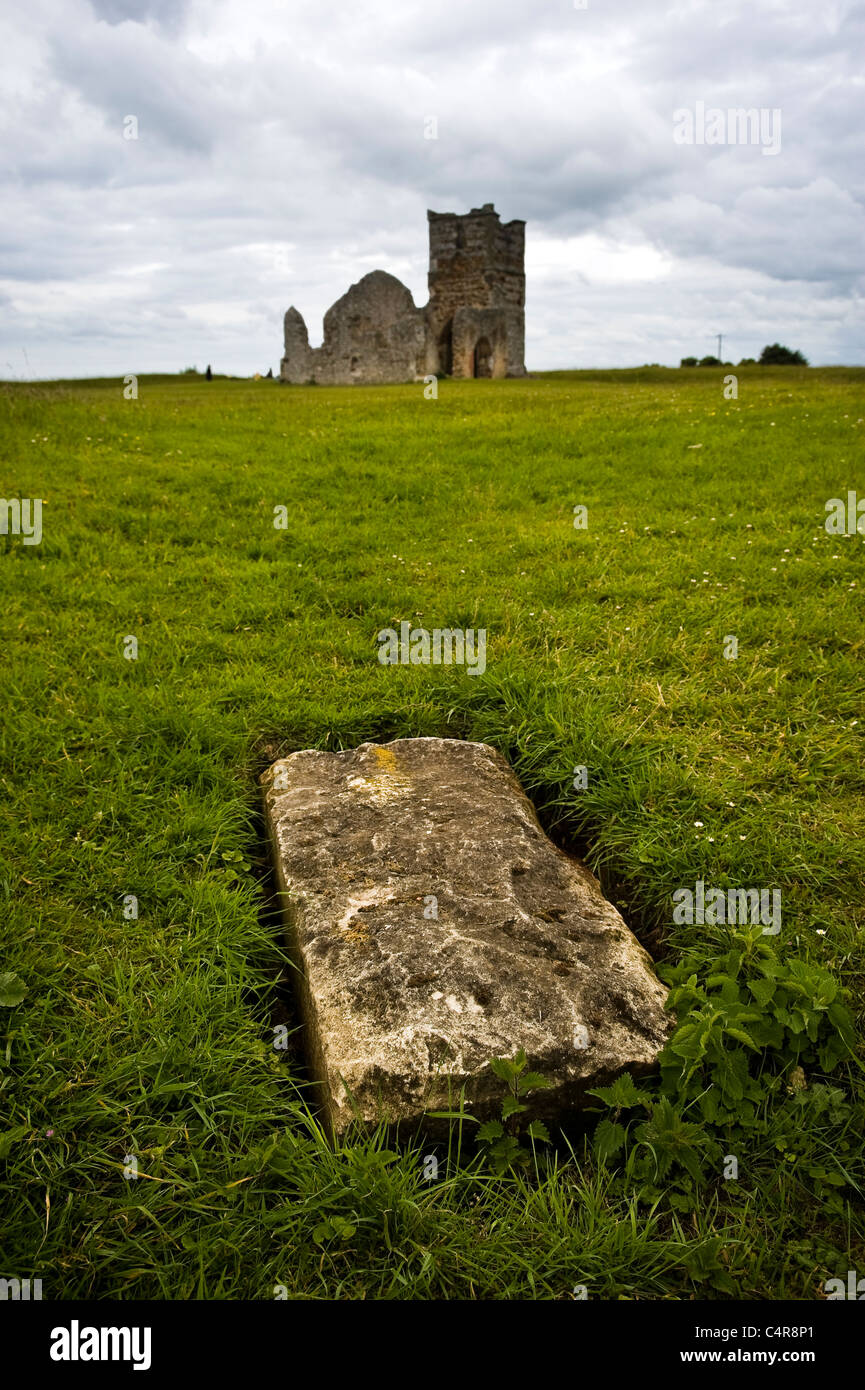 Knowlton Neolithic Henge and Norman Church, Dorset, UK - Stock Image