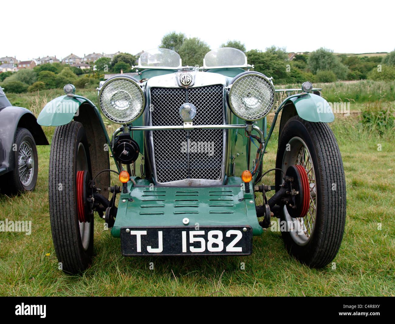 Vintage MG Midget J2, Bude car show, Cornwall, UK - Stock Image