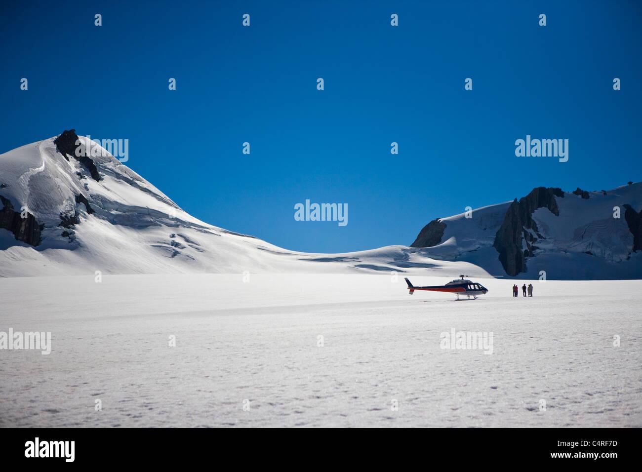 Heli hiking on Franz Josef glacier, South Island, New Zealand - Stock Image
