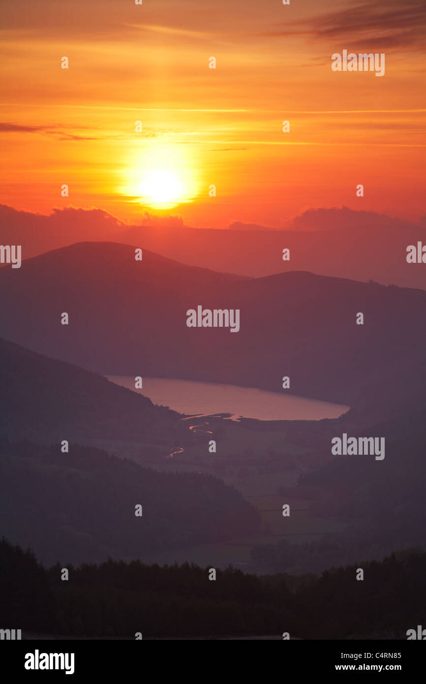 Sunrise over Talybont Reservoir, Brecon Beacons National Park, Wales - Stock Image
