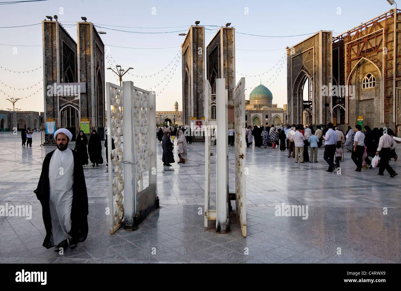 Mosque and shrine of Imam Ali Reza (8th Shi'ite Imam) in Mashhad, Iran - Stock Image
