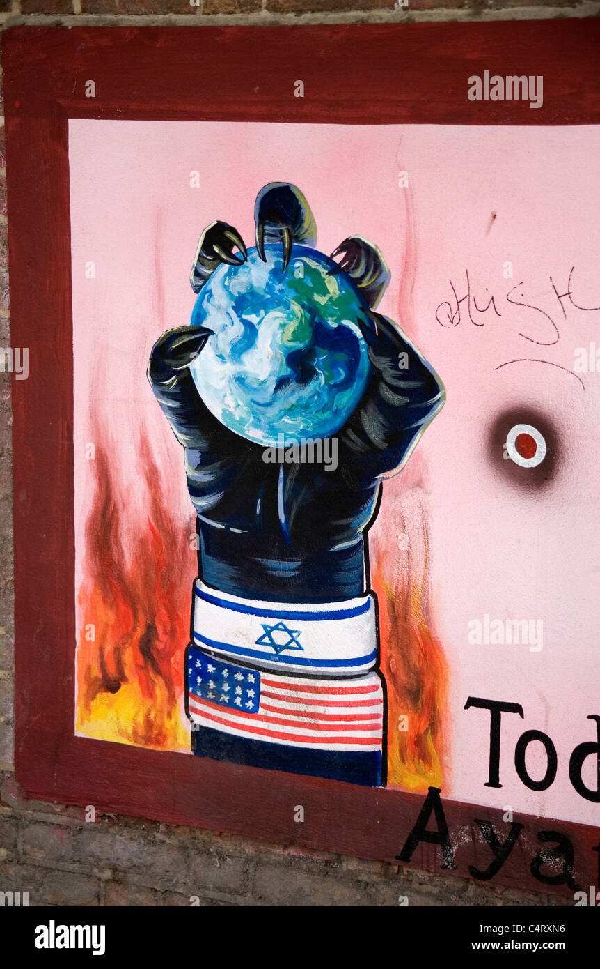 Anti-imperialist graffiti on wall, former American embassy, Teheran, Iran - Stock Image