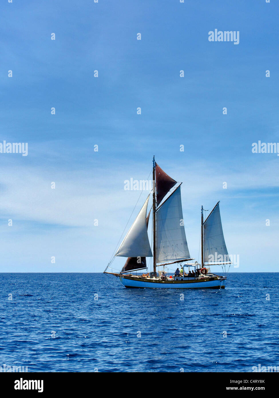 Sailboat near St. John Virgin Islands. - Stock Image