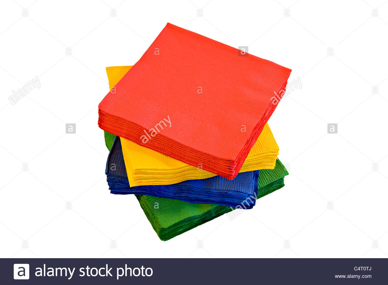 stack of different coloured Paper napkins on white