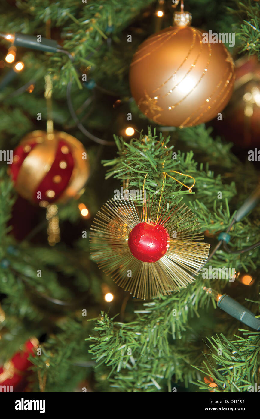 christmas decorations traditional bauble red gold festive seasonal baubles tree holidays sparkle gold silver stock - Red Gold And Silver Christmas Decorations