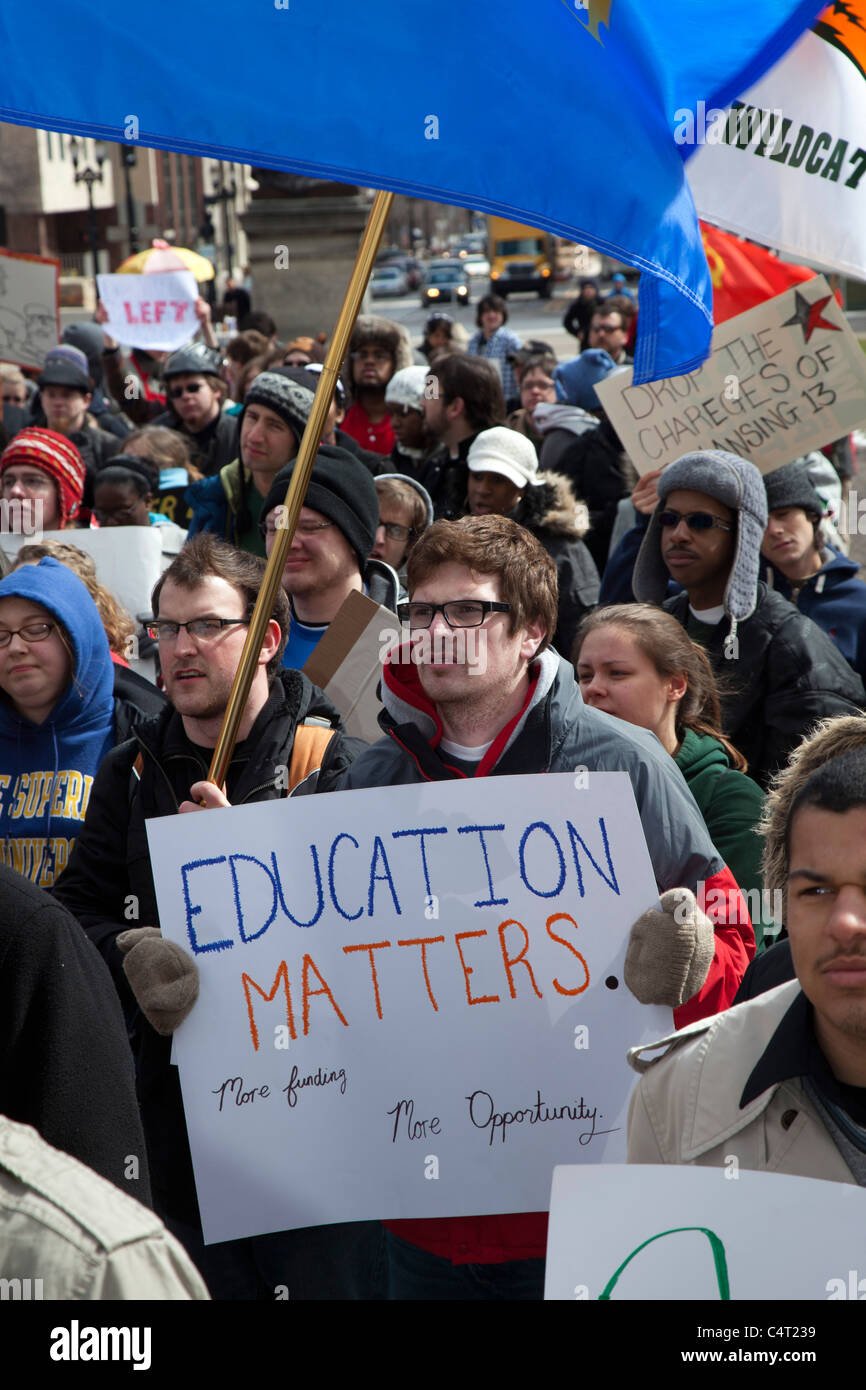 Students Rally Against Budget Cuts for Higher Education in Michigan - Stock Image