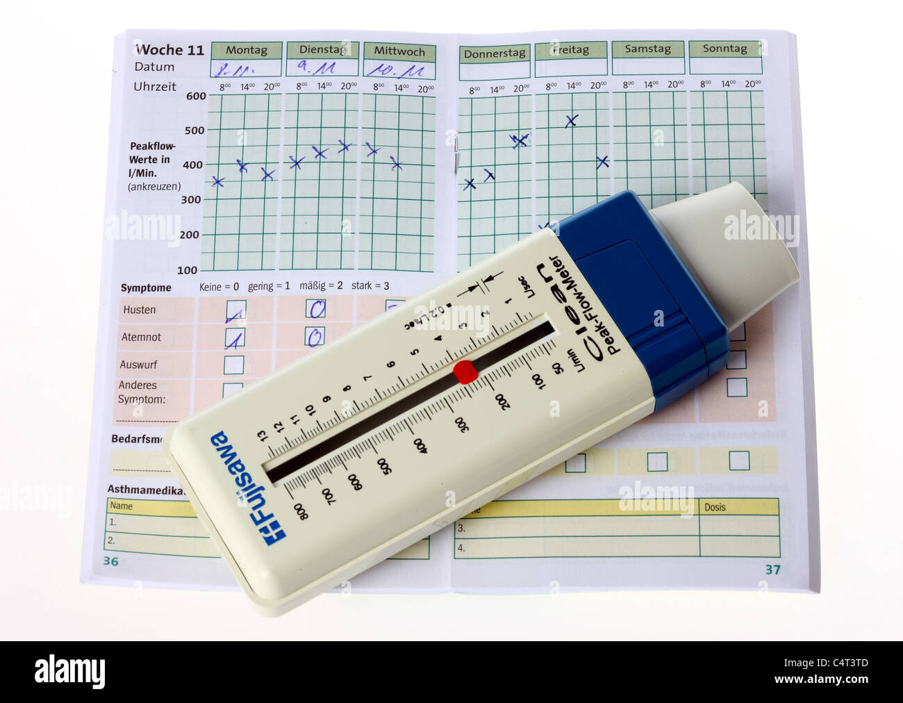 Measuring instrument for volumetric respiratory flow, necessary tool for asthma patients. Peak flow meter. - Stock Image