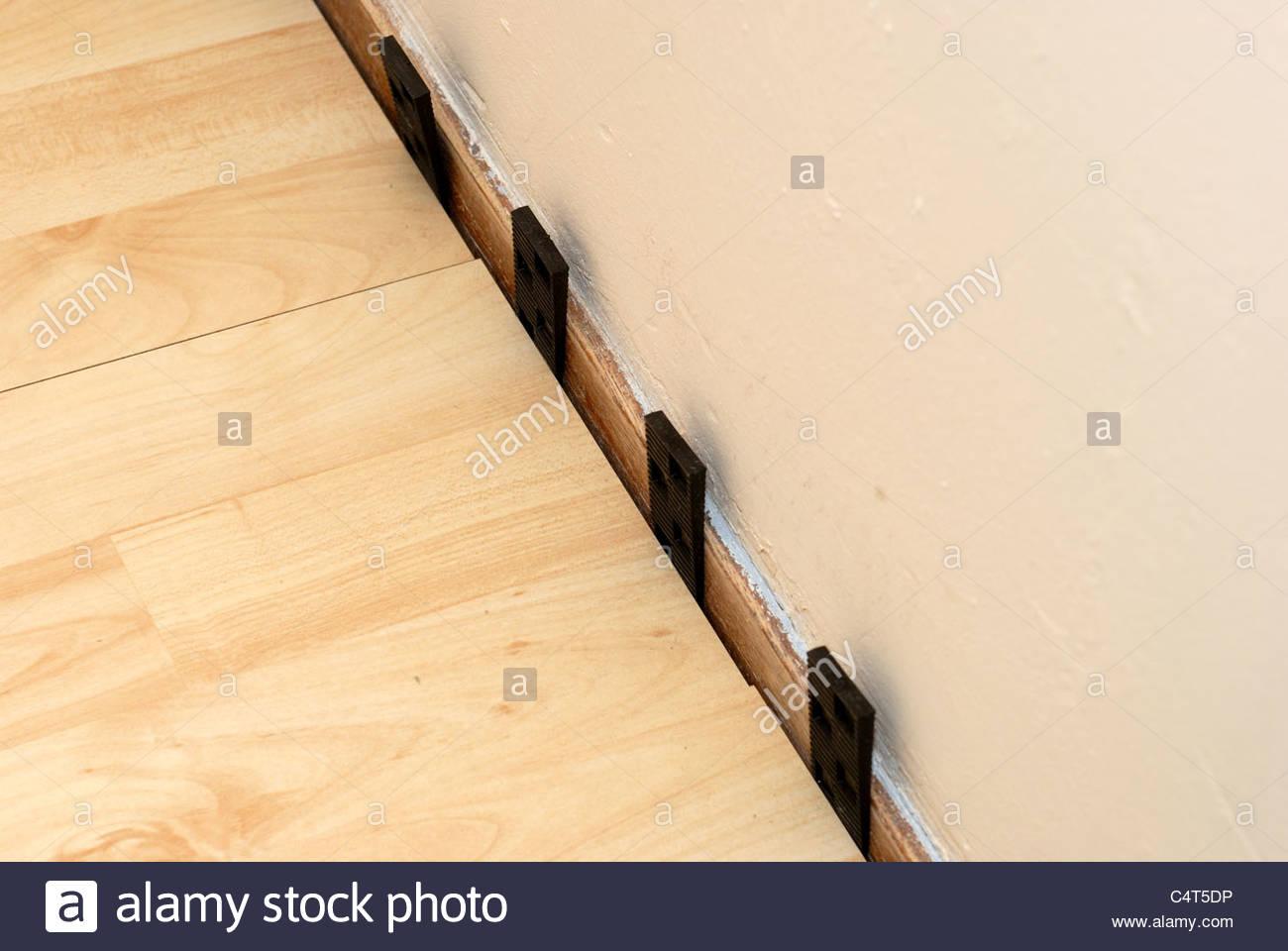 Laying laminate flooring Stock Photo