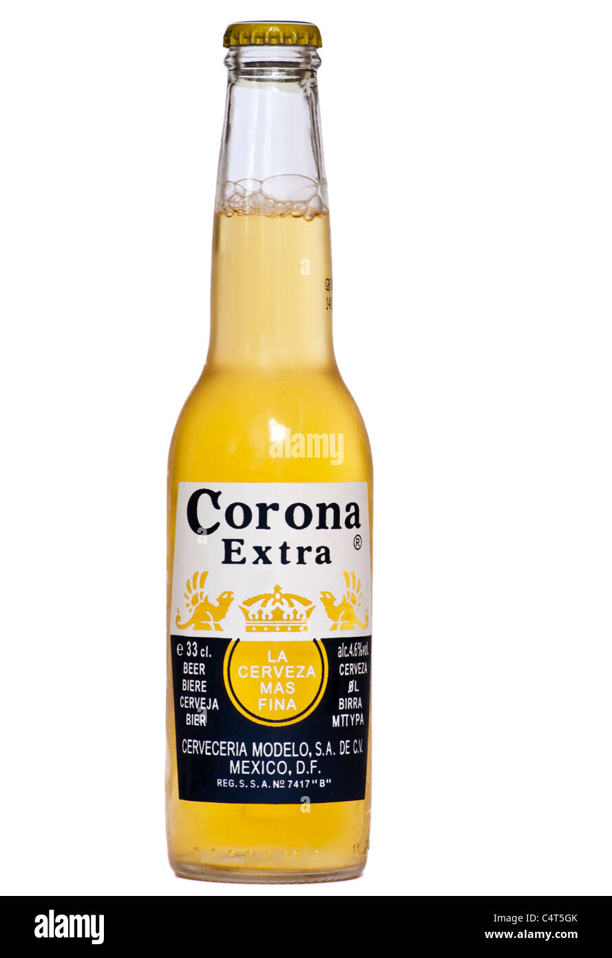 Bottle Of Corona Extra Mexican Beer - Stock Image