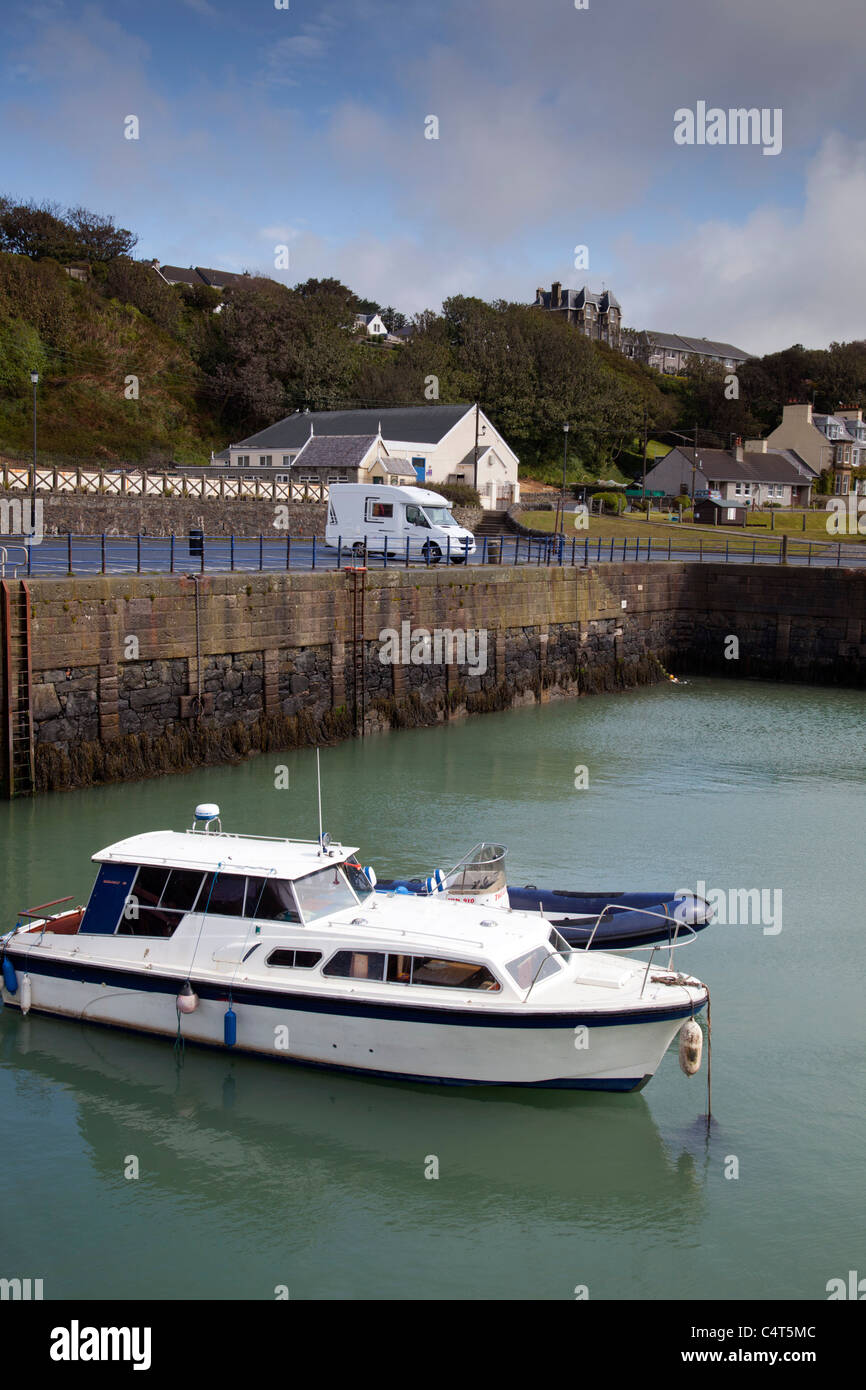 Camper Van parked at Portpatrick harbour; Dumfries and Galloway; Scotland - Stock Image