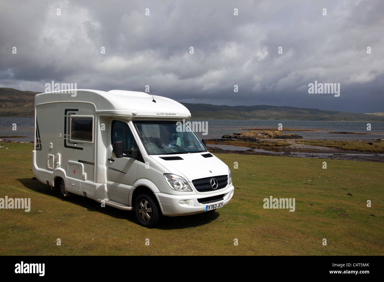 Camper Van parked at Scarisdale Point; Mull; Scotland - Stock Image