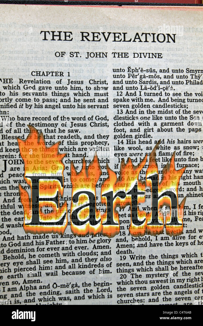 A conceptual image of Armageddon with the word Earth in flames overlaid on the Bible's Book of Revelation. - Stock Image