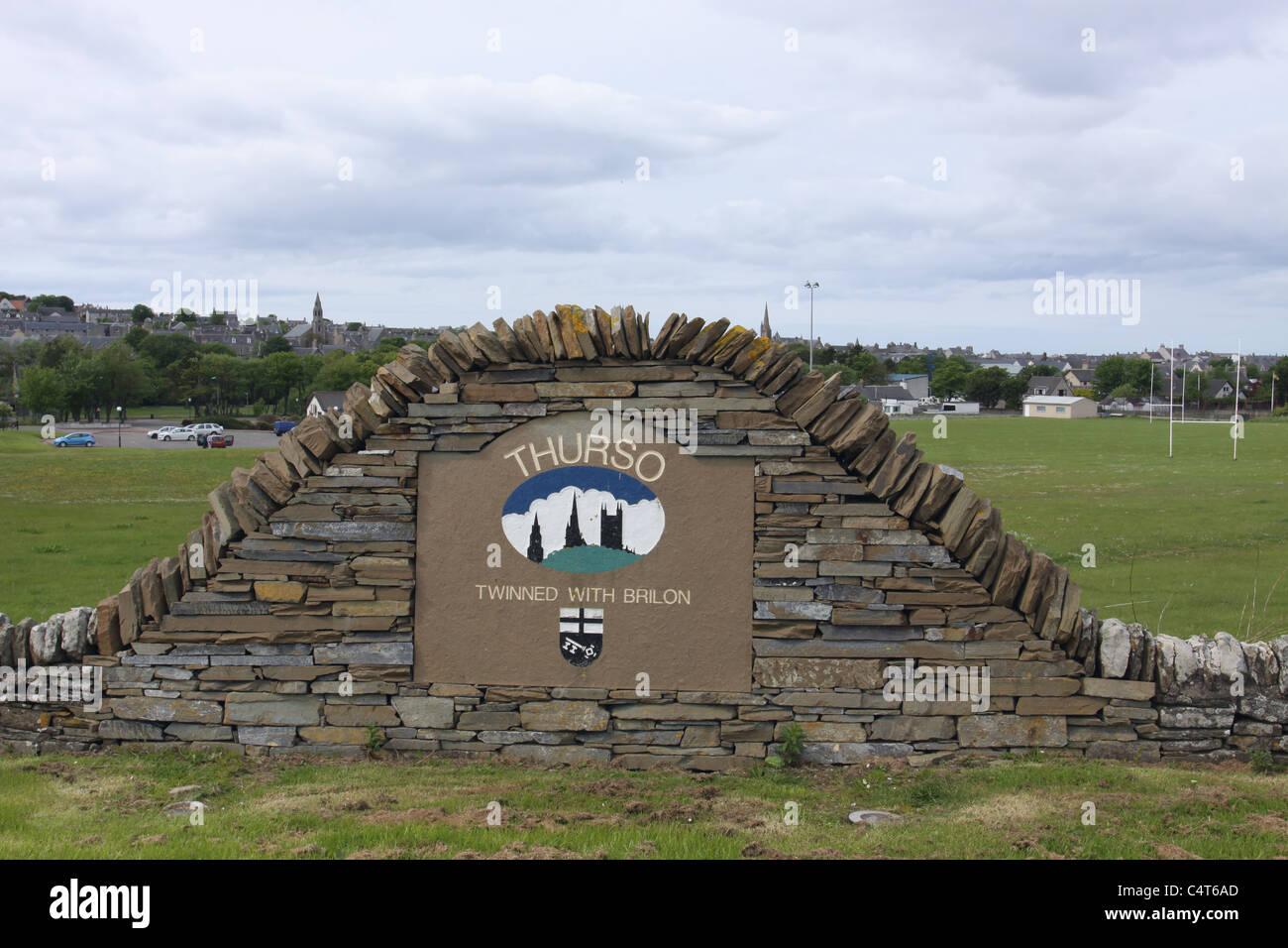 Thurso sign Caithness Scotland May 2011 - Stock Image