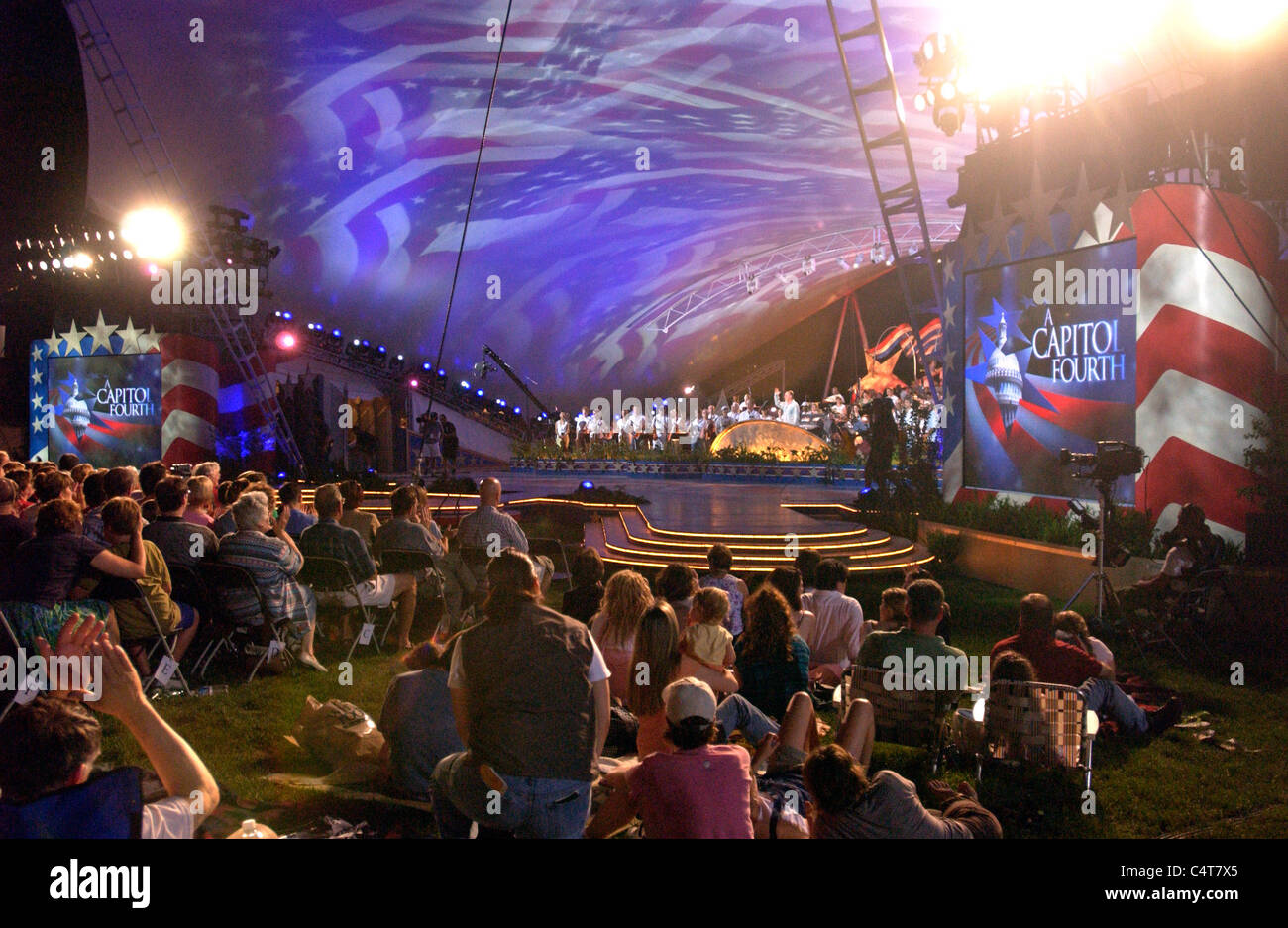 The dress rehearsal for the Capital Fourth 2006 Holiday Concert at the US Capital in Washington. - Stock Image