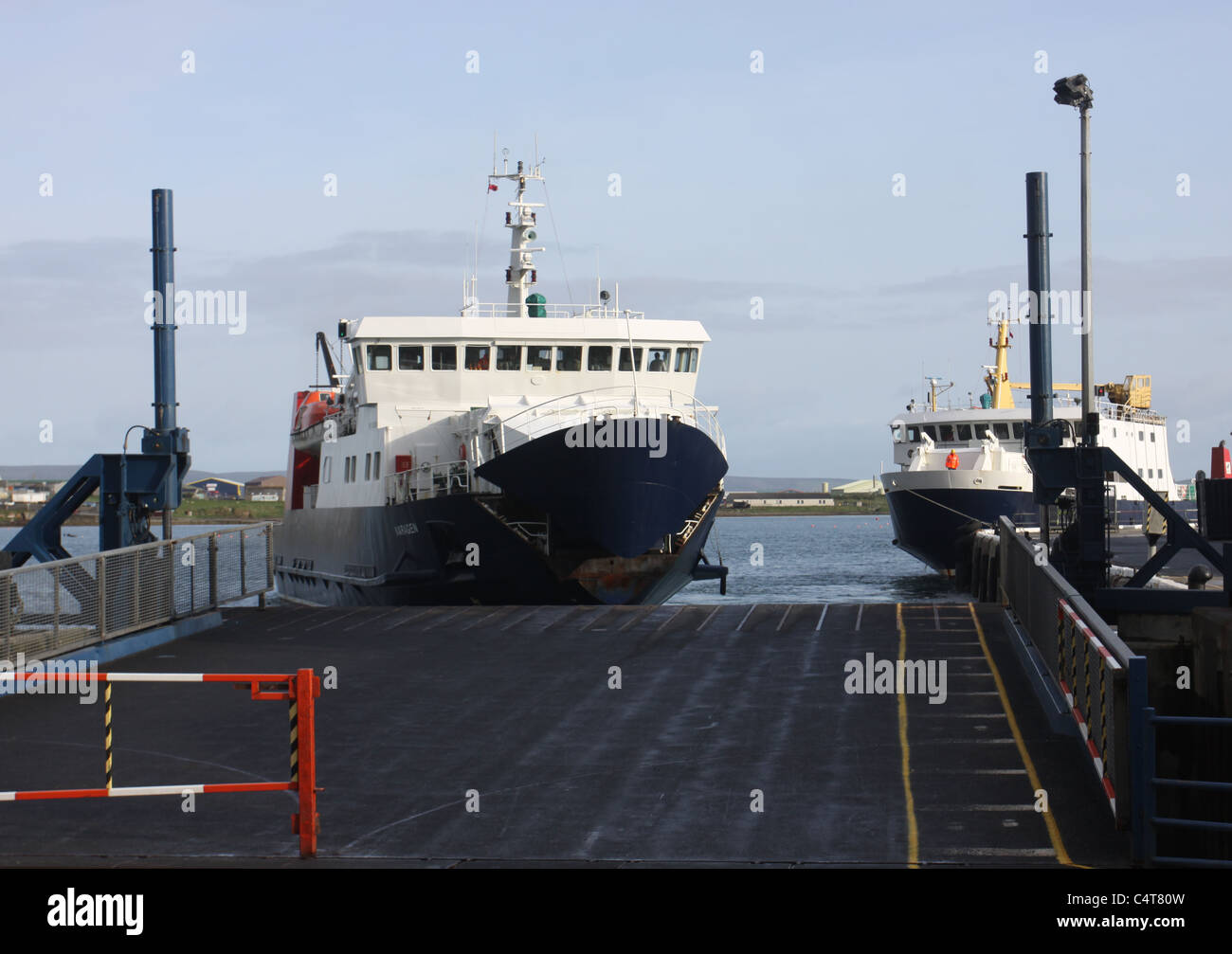 Ferry arriving Kirkwall harbour Scotland May 2011 - Stock Image