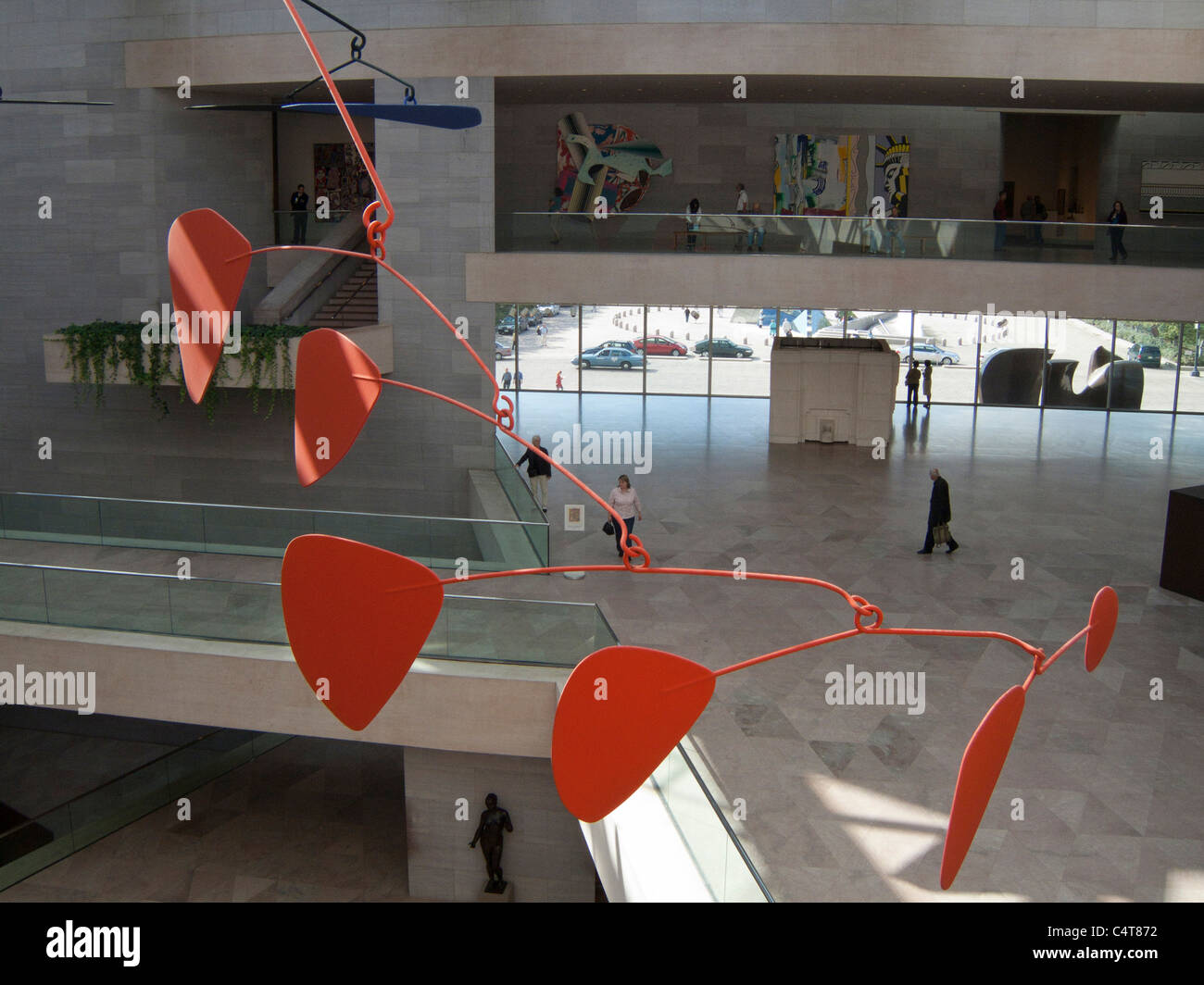 Washington DC, The Mall, Smithsonian National Gallery of Art, interior with Alexander Calder mobile sculpture - Stock Image