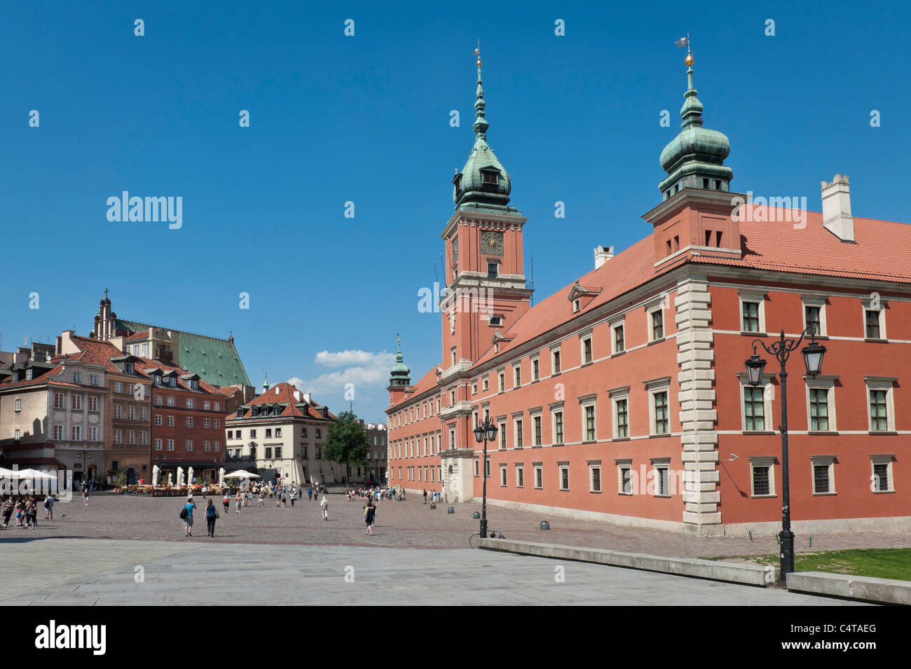 Historic Royal Castle in Warsaw during summer time, Poland - Stock Image