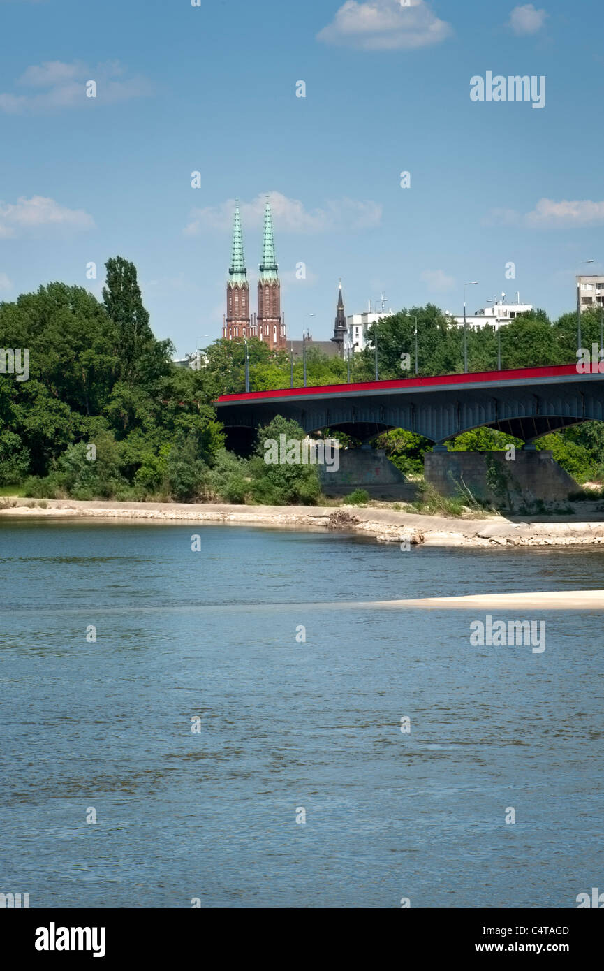 Cathedral of Saint Florian in Praga district of Warsaw Poland with Vistula river - Stock Image