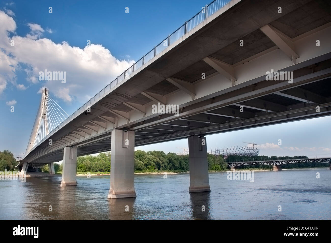 Modern bridge over Vistula (Wisla) river in Warsaw, Poland - Stock Image