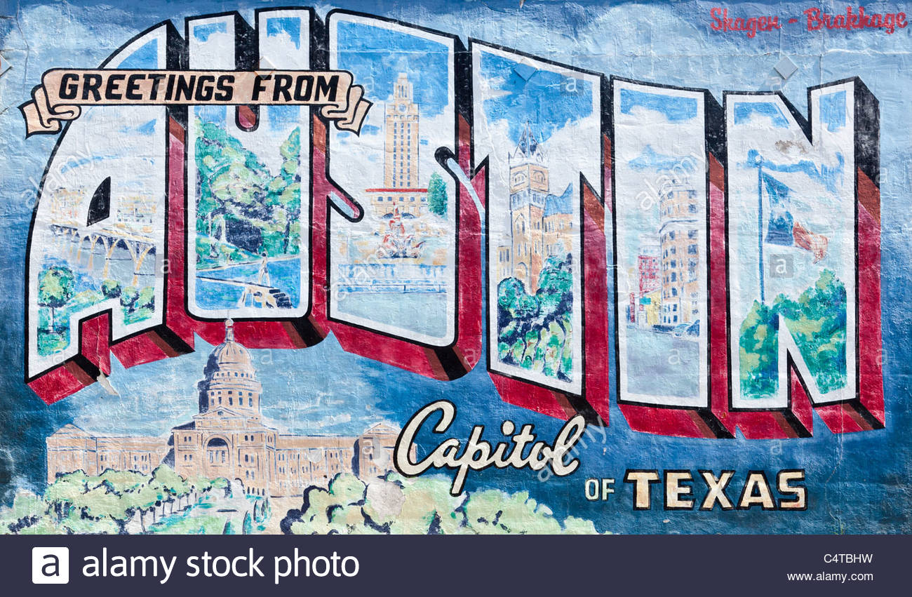 Texas postcard stock photos texas postcard stock images alamy austin texas postcard mural roadhouse relics on south first street stock image m4hsunfo