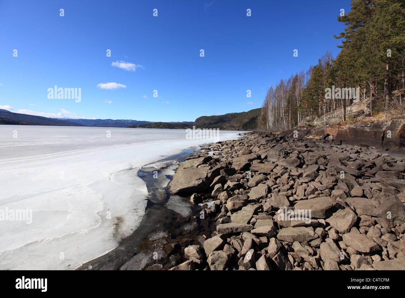 Norwegian Frozen Fjord Beach - Stock Image