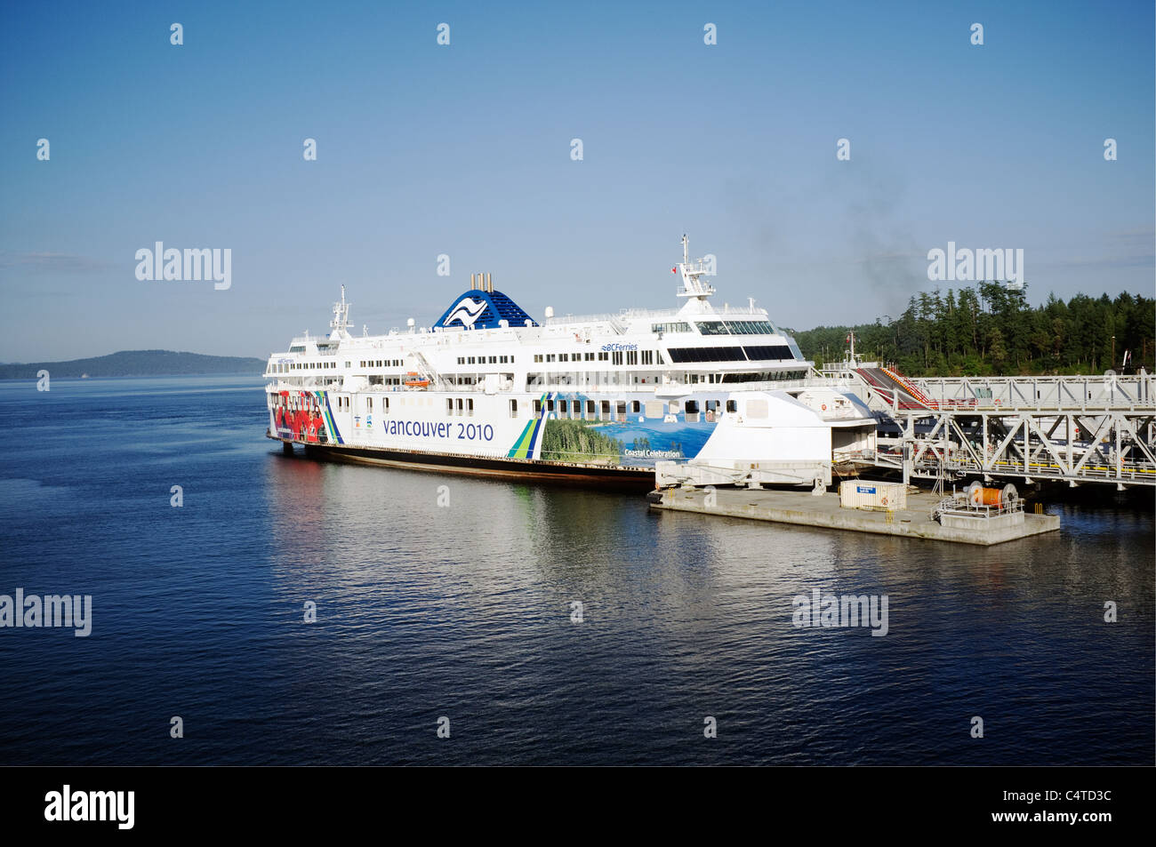 Ferry at Vancouver Island Dock in Olympics 2010 Livery - Stock Image
