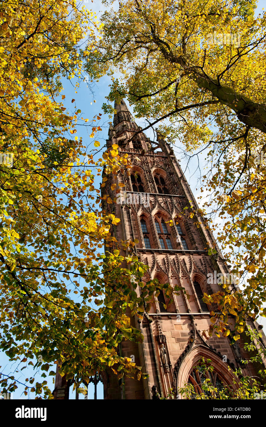 Tower and spire of Coventry Old Cathedral. UK. - Stock Image