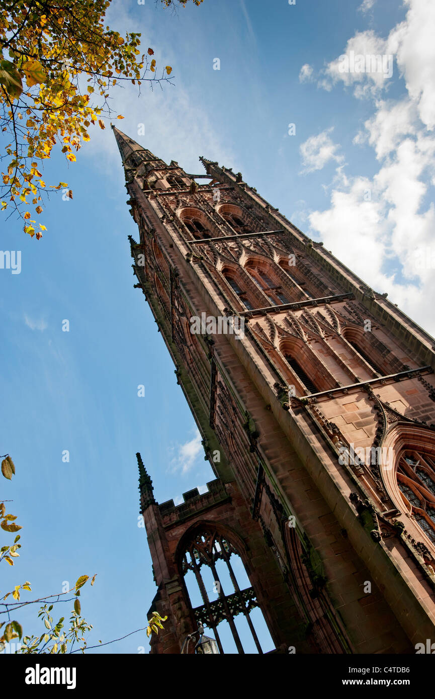 Tower and spire of Coventry Old Cathedral. United Kingdom - Stock Image