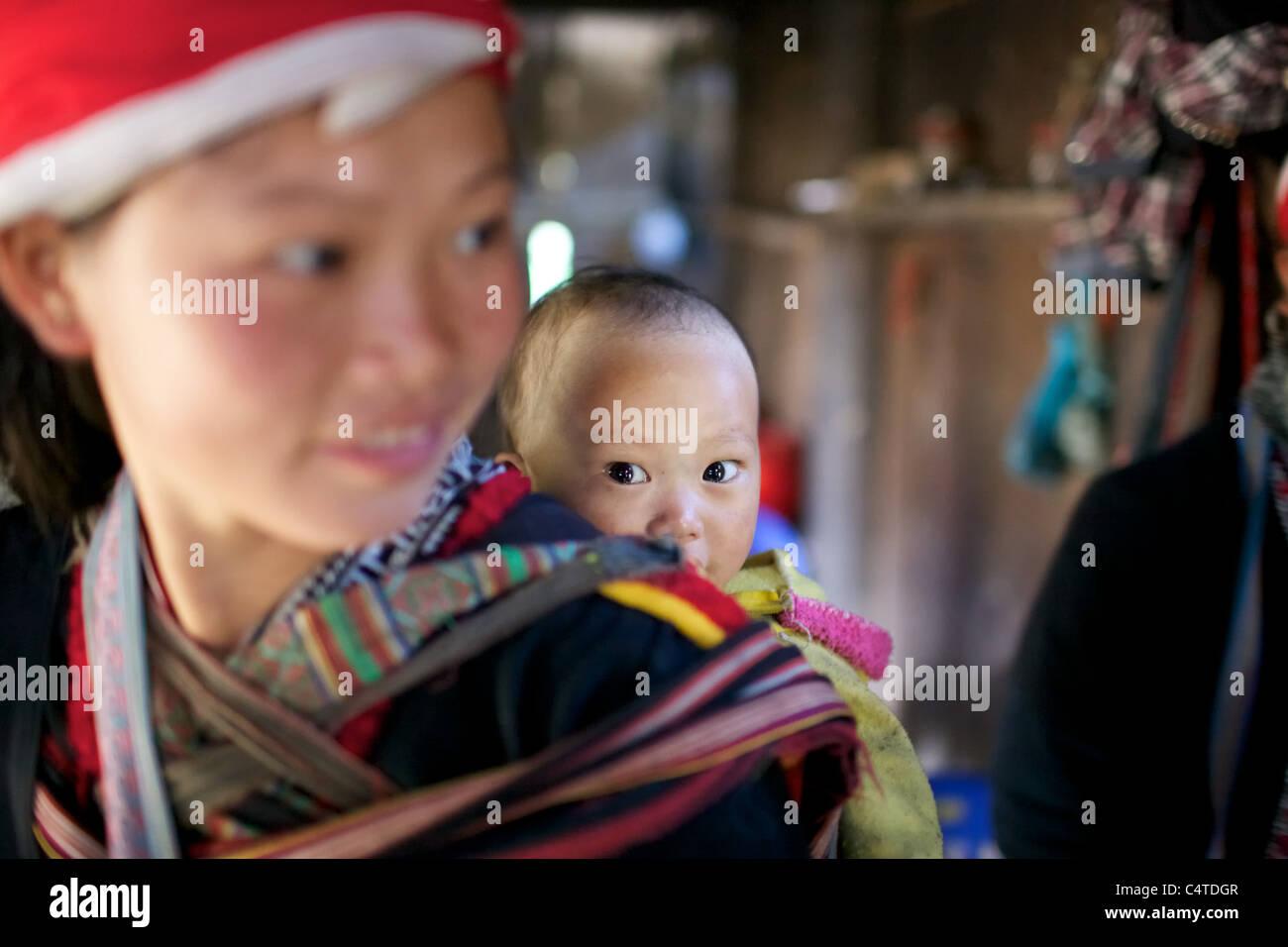Red Dao Ethnic Minority People Vietnam - Stock Image