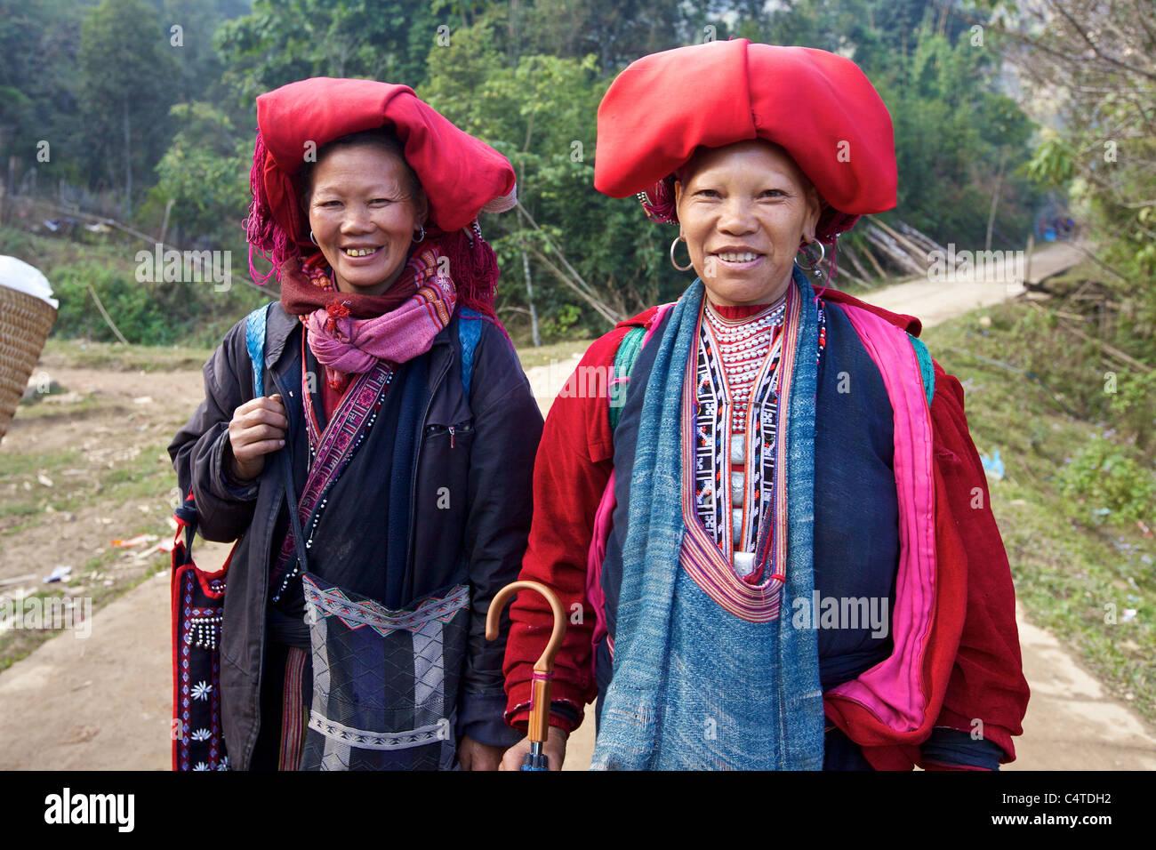 Red Dao Ethnic Minority Women - Stock Image
