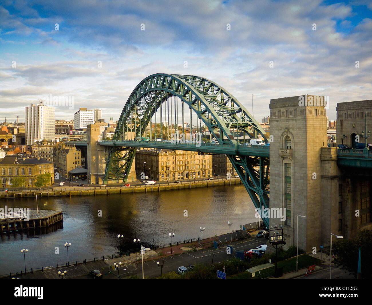 Tyne Bridge spanning the river Tyne to join Gateshead and Newcastle, UK. Stock Photo