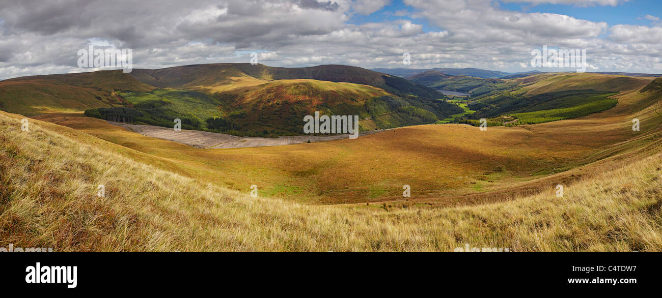Panorama of Talbont Forest and Talybont Reservoir, Brecon Beacons National Park, Wales - Stock Image