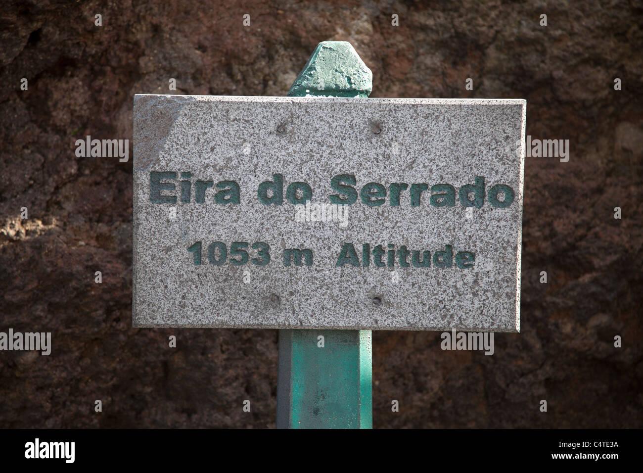 Sign for Eira do Serrado above the Nun's Valley or Curral das Freiras Madeira - Stock Image