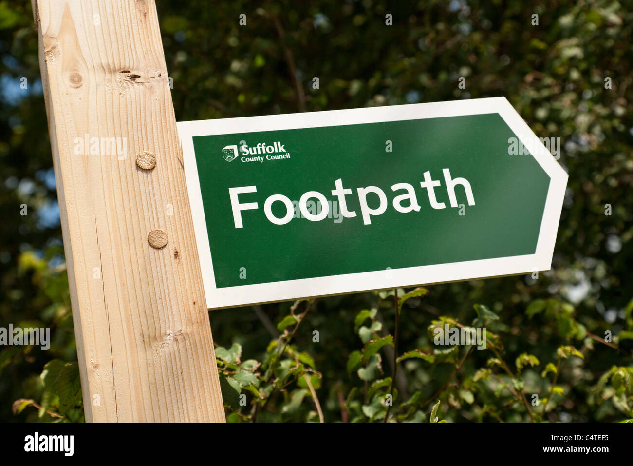Suffolk County Council public footpath sign - Stock Image