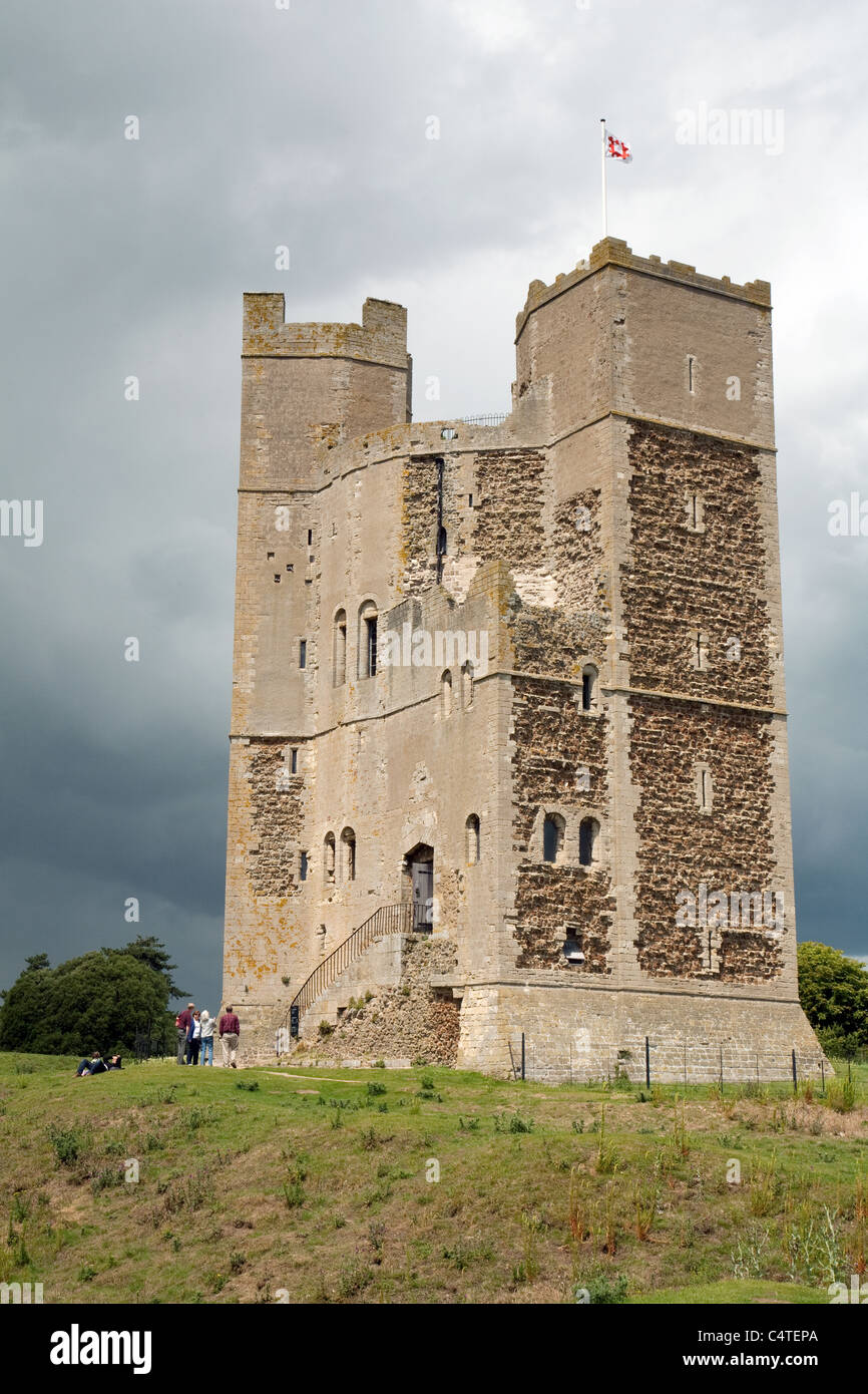 People visiting Orford castle, owned by English Heritage, Orford, Suffolk UK - Stock Image