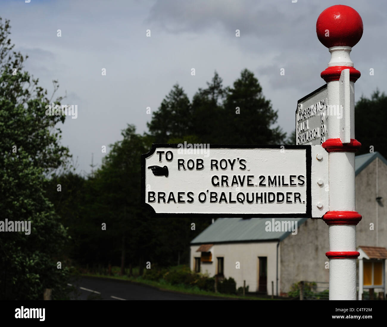 Signpost to Rob Roy,s Grave Stock Photo