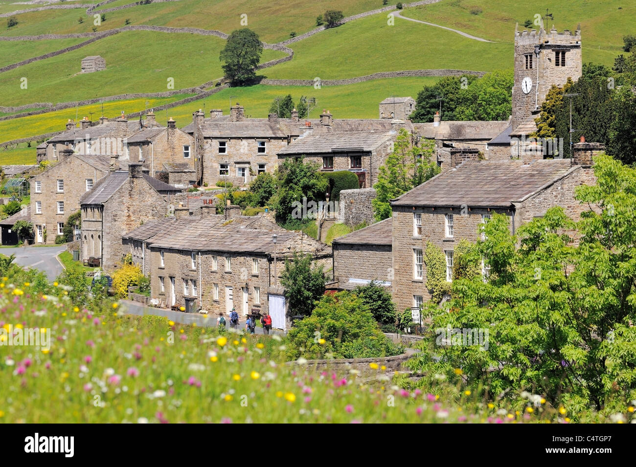 The attractive village of Muker in Swaledale, Yorkshire, England - Stock Image