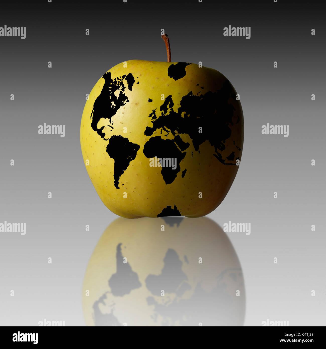 World map on apple - Stock Image