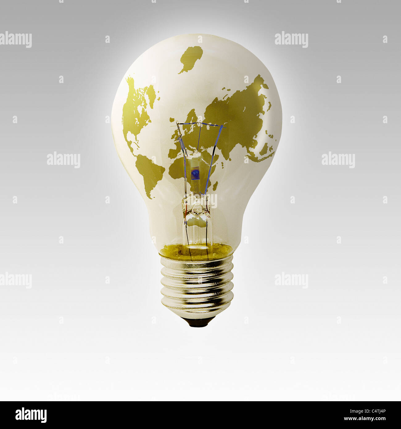 World map on light bulb - Stock Image