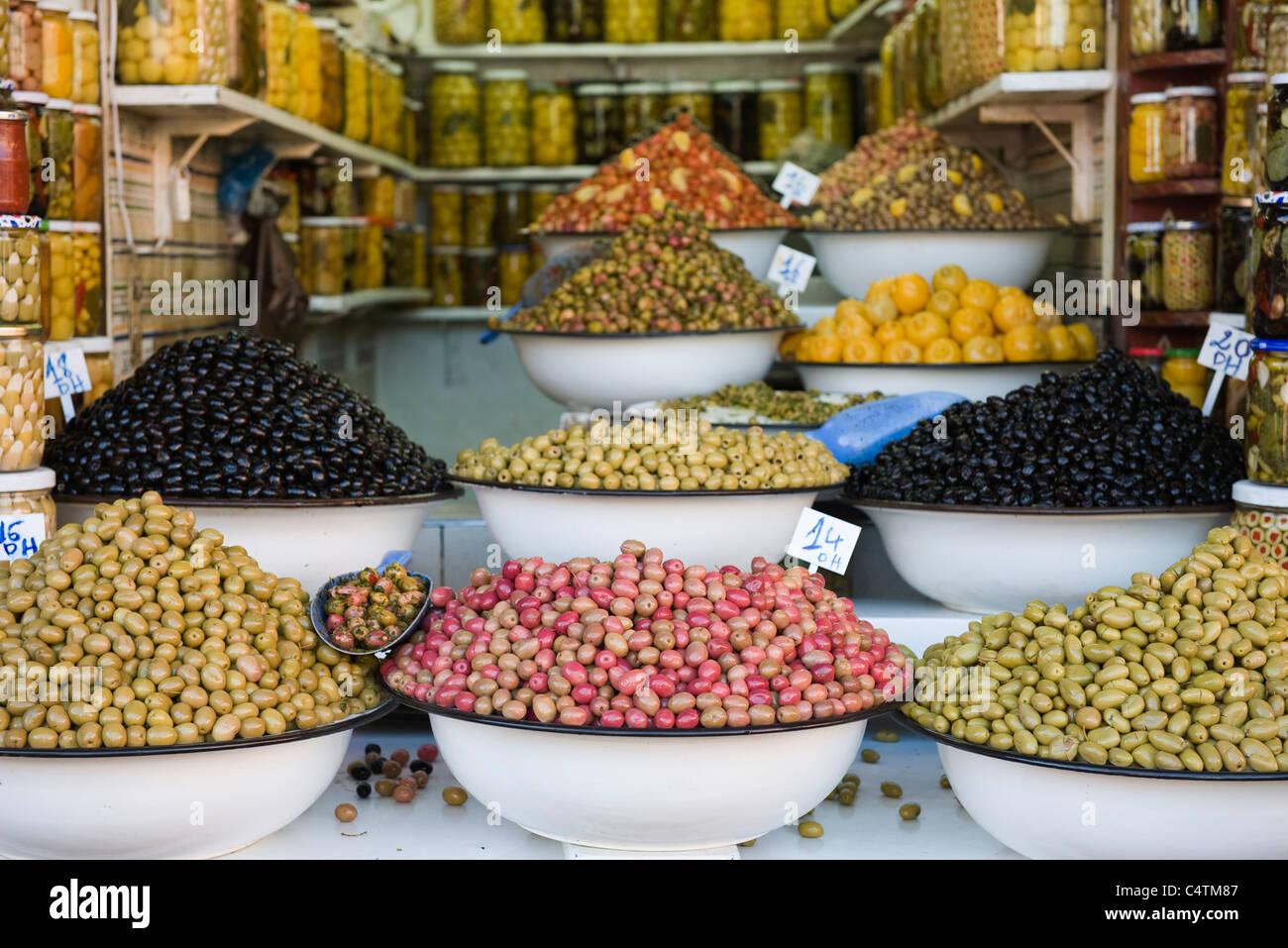 Fresh olives in market - Stock Image