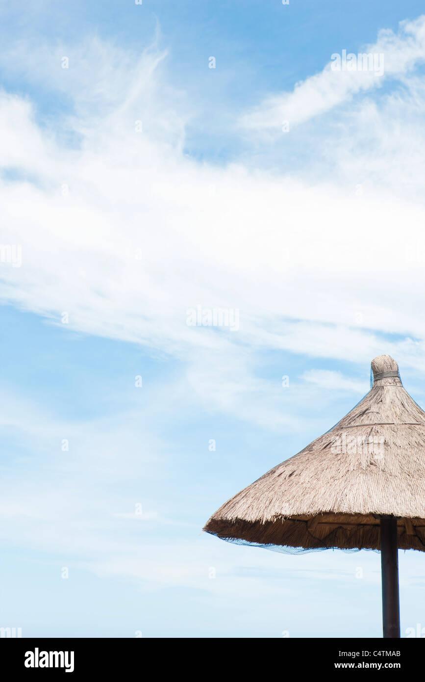 Thatched umbrella - Stock Image