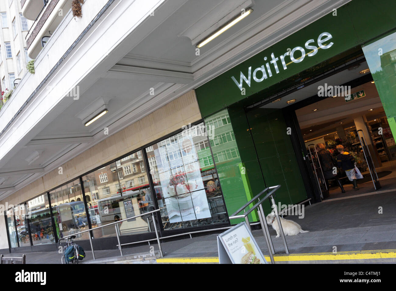 WAITROSE, their JOHN BARNES retail outlet at Finchley Road near Hampstead is viewed here at an extreme angled aspect. - Stock Image