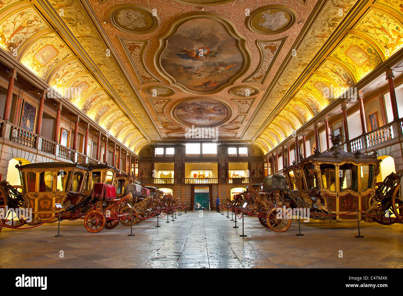 Europe, Portugal, Carriages in the National Coach Museum in Lisbon - Stock Image