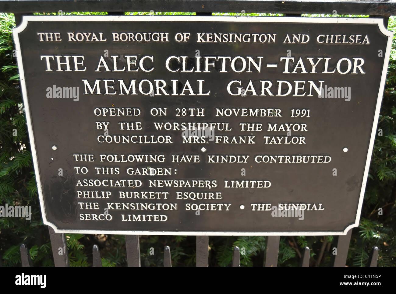 commemorative notice at the alec clifton-taylor memorial garden, kensington church walk, kensington, london, england - Stock Image