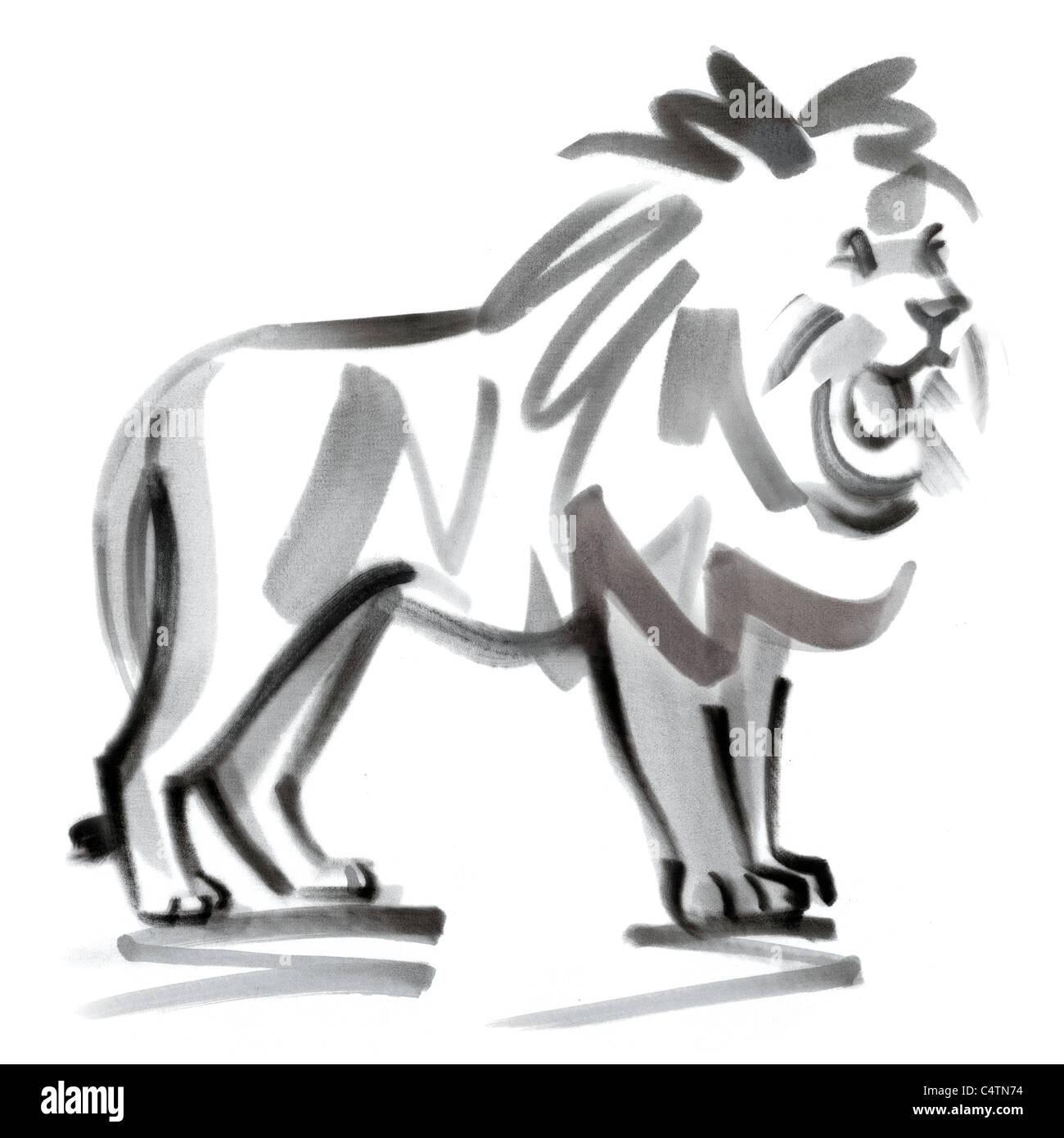 Leo astrological sign, illustration - Stock Image