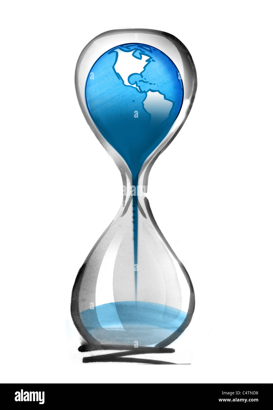 Planet earth falling through hourglass Stock Photo