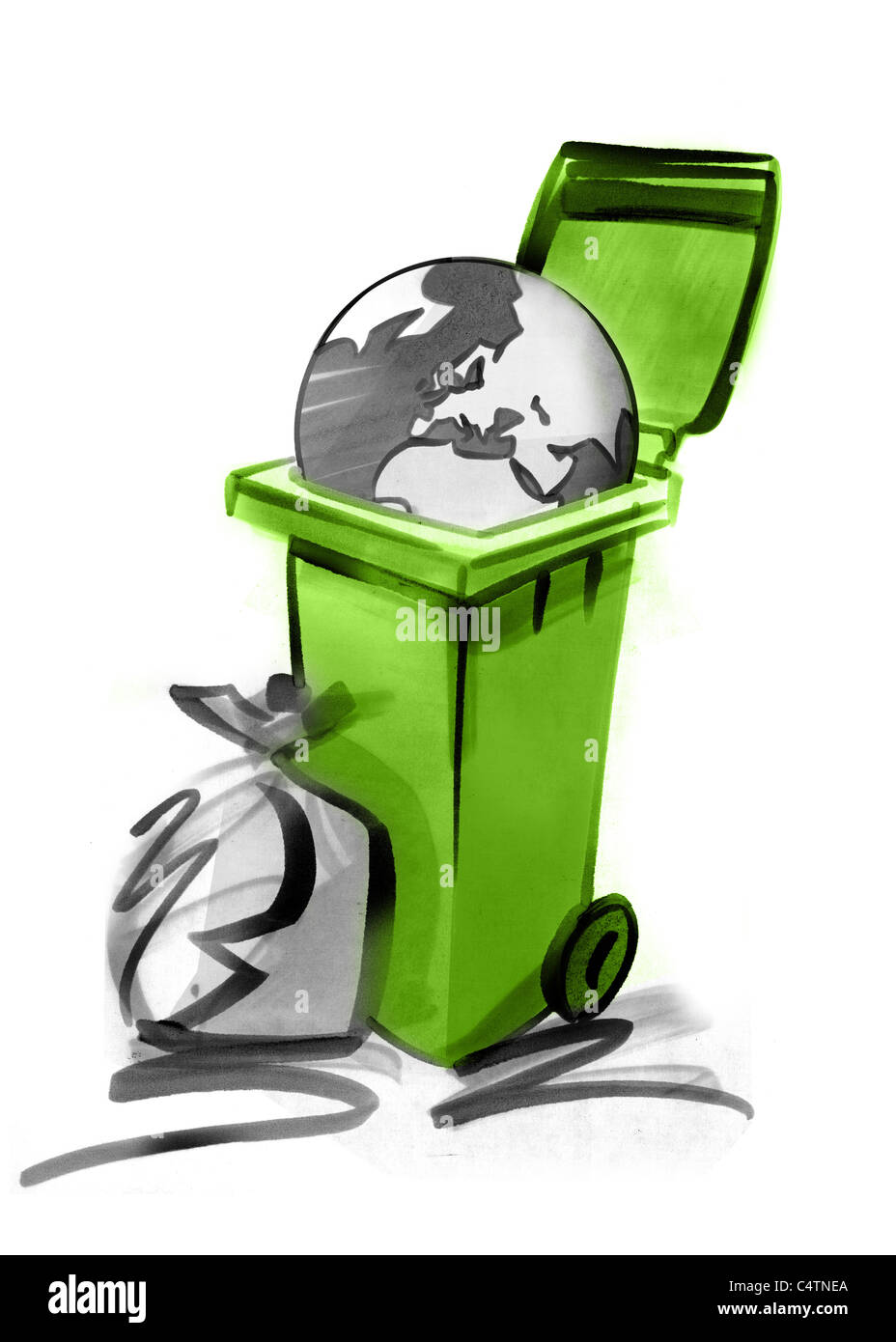 Planet in garbage can - Stock Image